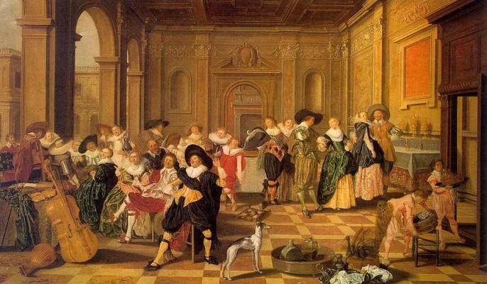 Dirk Huls. Banquet Scene in a Renaissance hall
