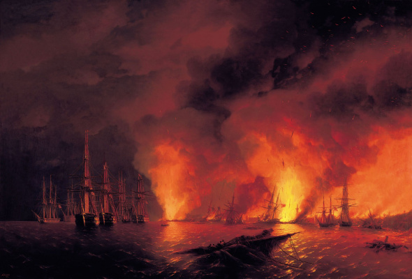 Ivan Constantinovich Aivazovski. The battle of Sinop, 18 November 1853 (the Night after the battle)