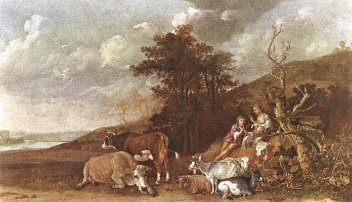 Paulus Potter. Cattle and people