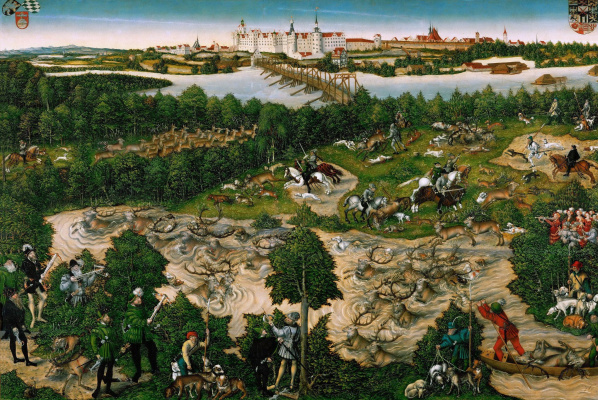 Lucas the Younger Cranach. Hunting deer kurfust Johann Friedrich