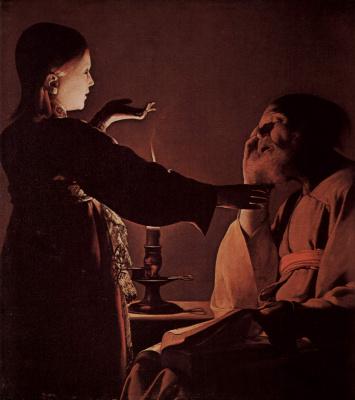 Georges de La Tour. The angel appears to St. Joseph in a dream