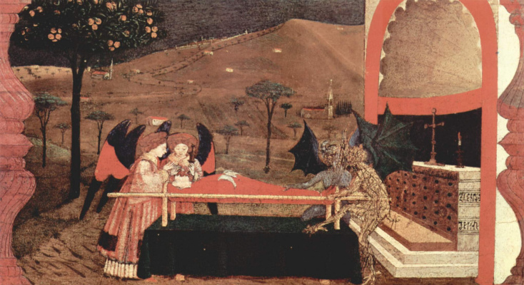 Paolo Uccello. The legend of the communion. Two angel and two demon argue in front of the altar for the body of the repentant
