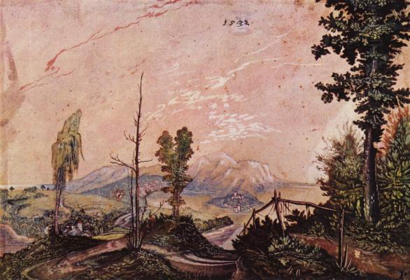 Вольф Хубер. Пейзаж в альпийских предгорьях