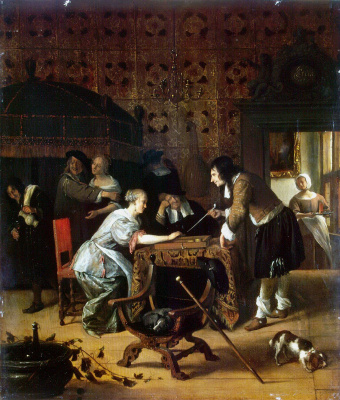 Jan Steen. The game of backgammon