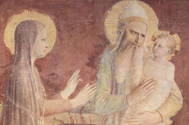 Fra Beato Angelico. Bringing to the temple, fragment. Fresco of the Monastery of San Marco, Florence