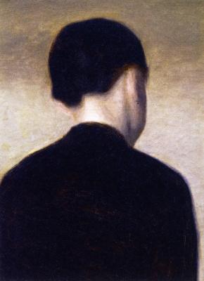Vilhelm Hammershøi. Rear view of a young girl: Anna Hammershoy