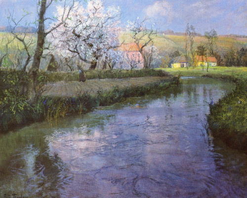 Frits Thaulow. French river landscape