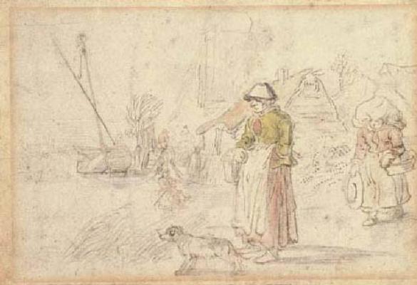 Хендрик Аверкамп. Две женщины и собака на берегу реки