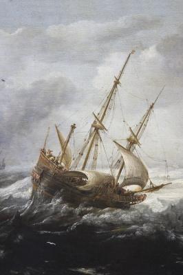 Ян Порселлис. Корабли в шторм у скалистого побережья
