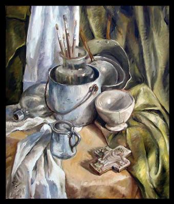 Olga Ray. Натюрморт с алюминиевой посудой