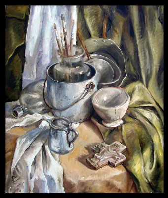 Olga Ray. Still life with aluminum cookware