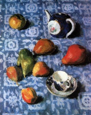Igor Nobel Grabar. Pears on a blue tablecloth