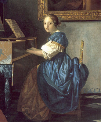 Jan Vermeer. A young girl at the harpsichord. Fragment