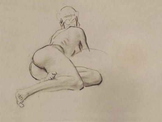 """Джон Сингер Сарджент. Эскиз для  """"Атлас и Геспериды"""". Фигура лежащей обнаженной женщины"""