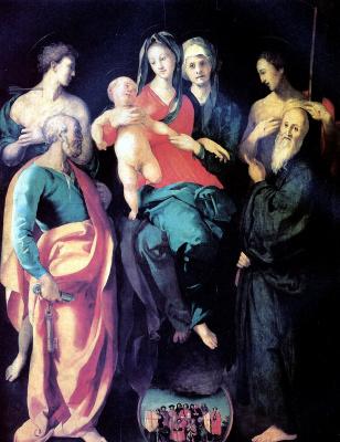 Якопо Карруччи. Мадонна с младенцем, со святыми и городской процессией в Верцайо