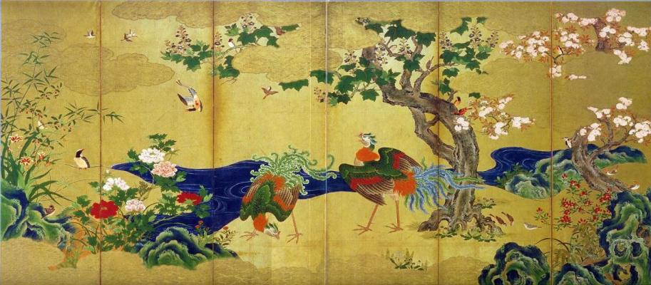 """Кано Эйтоку. Ширма """"Цветы и птицы времен года"""", правая сторона"""