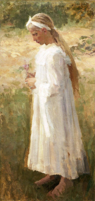 Mikhail Vasilyevich Nesterov. Girl in a white dress with a flower in her hand