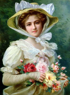 Emile Vernon. Elegant lady with a bouquet of roses.