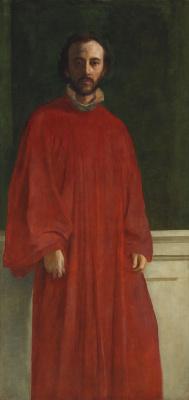 Джордж Фредерик Уоттс. Автопортрет в красной одежде. 1853