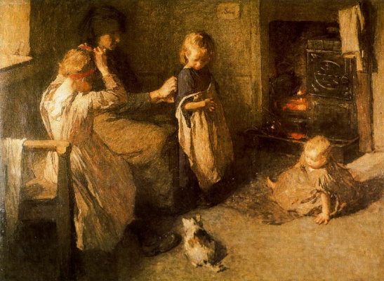 Laura Knight. Children and cat