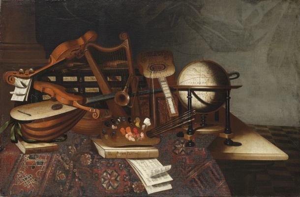 Bartolomeo bettera. Still life with a palette, brushes, musical instruments, books and a globe in the interior