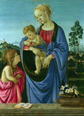 Filippino Lippi. The virgin and child with Saint John