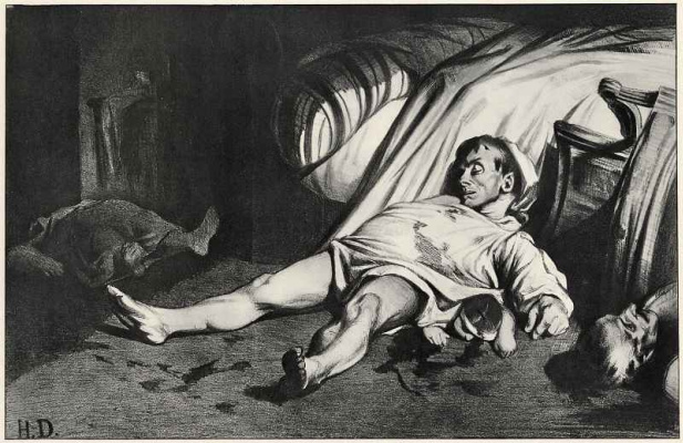 Honore Daumier. Street Transnonain. After the withdrawal of troops from the working quarters 15 APR 1834 democracy was saved