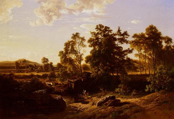 Джозеф Куино. Речной пейзаж с мельницей