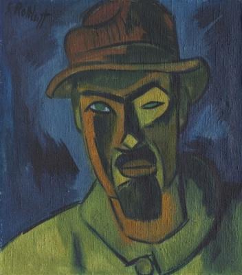 Karl Schmidt-Rottluff. Self-portrait in a hat