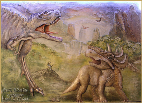 "Julia Akulova. The bas-relief of ""dawn of the dinosaurs"""