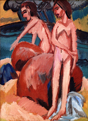 Ernst Ludwig Kirchner. Bathers near the sea