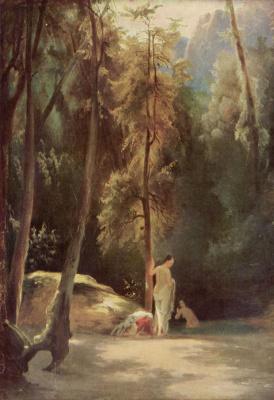 Карл Эдуард Фердинанд Блехен. Купальщицы в парке Терни