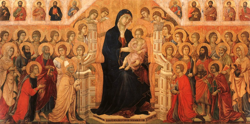 Duccio di Buoninsegna. Madonna and child enthroned with angels and saints