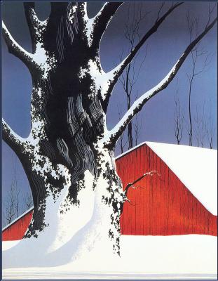 Эйвинд Эрл. Красный амбар и дерево в снегу