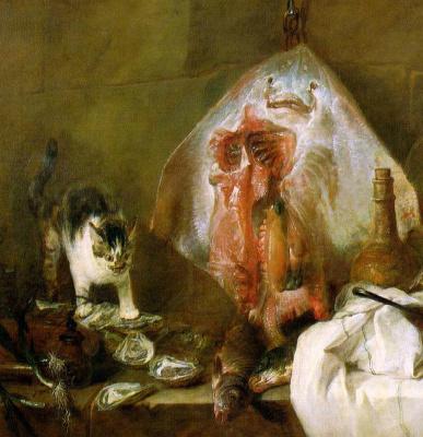 Jean Baptiste Simeon Chardin. Still life with a slope. Fragment