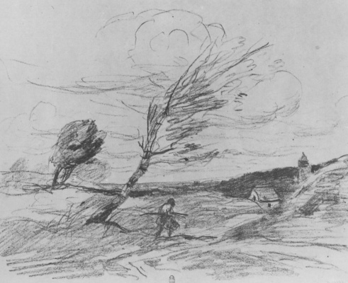 Camille Corot. Gust of wind