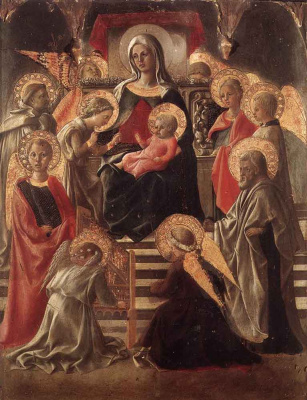 Fra Filippo Lippi. Madonna and child enthroned with saints