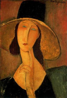 Amedeo Modigliani. Portrait of Jeanne hebuterne in a large hat