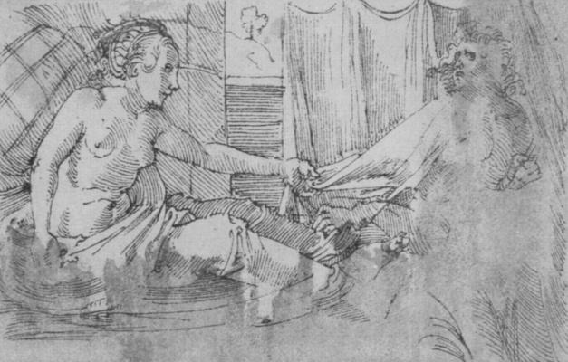 Hans Baldung. Joseph and Potiphar's wife. The prayer book of Emperor Maximilian I