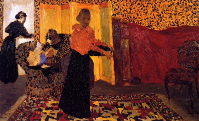 Jean Edouard Vuillard. Interior with a red bed (Room of the newlyweds)