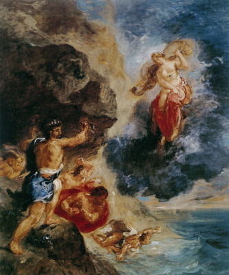 "Eugene Delacroix. Juno and Eolus (From the series ""Four seasons"". Winter)"