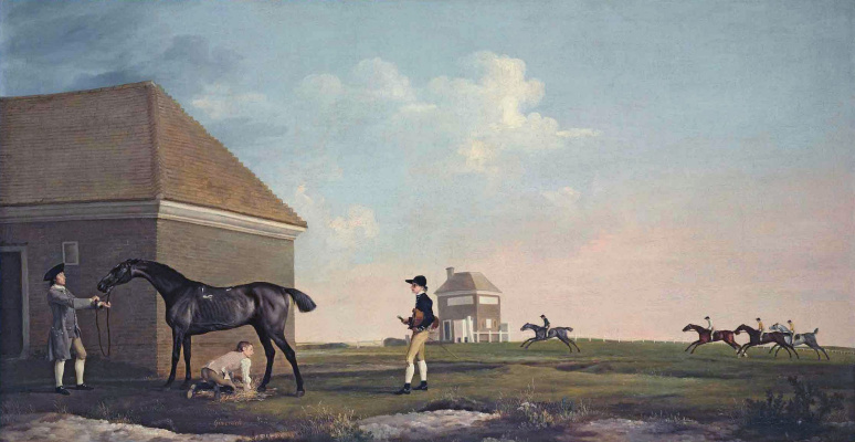 George Stubbs. Stallion Gimcrack with the groom in Newmarkets wasteland