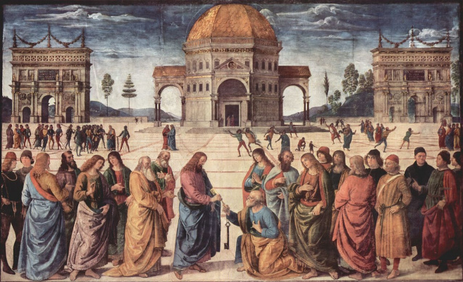 Pietro Perugino. The frescoes of the Sistine chapel, scene: Christ passes the keys of Paradise to St. Peter