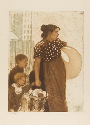 Theophile-Alexander Steinlen. Housewife with children, returning from the Laundry