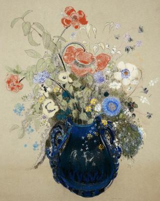 Odilon Redon. Flowers in a blue vase