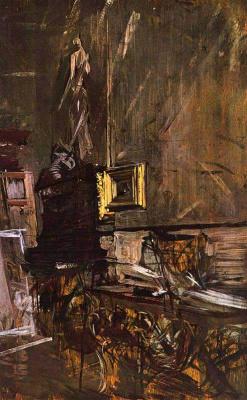 Giovanni Boldini. Golden frame. Interior artist's studio