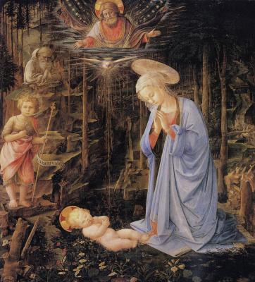 Filippino Lippi. The worship of the child and St. Bernard