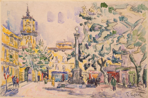 Paul Signac. The town Hall area in AIX-EN-Provence