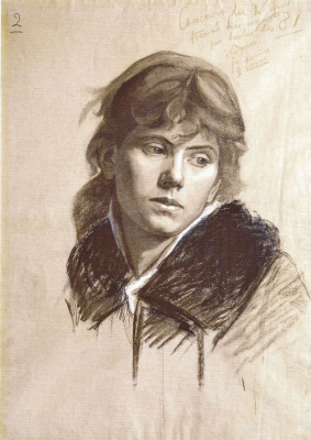 Мария Константиновна Башкирцева. The head of a woman