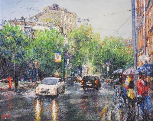 Alexey Leonidovich Yakimov. Spring rain in B.Ovchinnikovsky lane